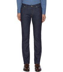 contrast topstitch low rise jeans