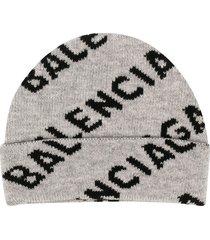 balenciaga all-over logo beanie - grey