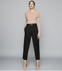 reiss tima - off-the-shoulder knitted top in nude, womens, size xl