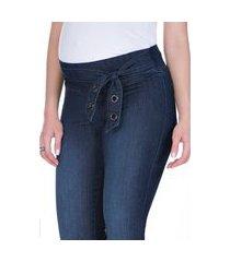 calça megadose moda gestante jegging azul jeans