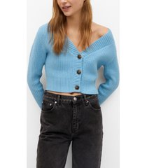 mango women's button crop cardigan