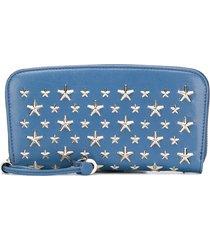jimmy choo filipa star-studded long wallet - blue