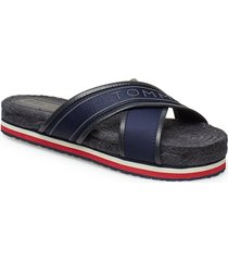 trina 1c shoes summer shoes flat sandals blå tommy hilfiger