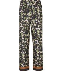 multi-tonal forest green silk pants