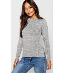 petite high neck soft knit side split tunic top, grey
