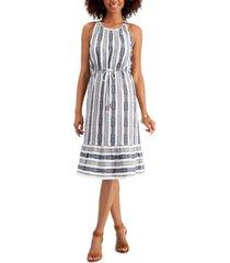 style & co striped jacquard midi dress, created for macy's