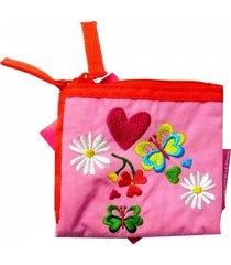 billetera peace & love rosa