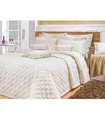 colcha / cobre leito cama super king size percal 200 fios com 3 peças - cobreleito amande - bernadete casa