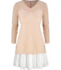 plus size lace panel cami dress and v neck knit top