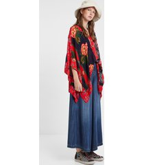 patchwork poncho blouse - red - l