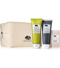 with any $55 origins purchase, receive 3-piece free gift plus an origins cosmetic bag!