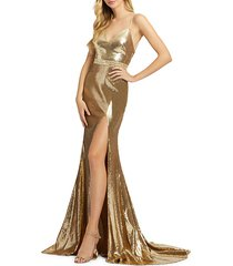 metallic sequined trumpet gown