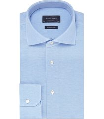 profuomo lichtblauw overhemd knitted