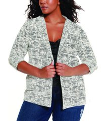 belldini black label women's plus size knit jacquard jacket