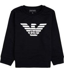 emporio armani blue modal blend sweatshirt with logo