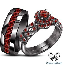 bride & groom wedding trio ring set red garnet 14k black gold plated 925 silver