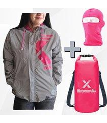 chaqueta reflectiva impermeable para moto  + maleta dry bag + balaclava