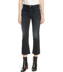 women's frame le crop mini raw hem bootcut jeans, size 31 - blue