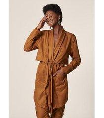 mob trench coat sarja cordão feminino