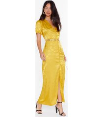 womens don't try so jacquard satin maxi dress - mustard