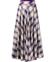 forte forte check-print full skirt - purple
