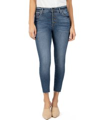 women's kut from the kloth connie high waist ankle skinny jeans, size 16 - blue