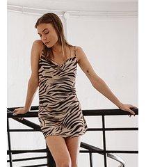 vestido animal print tif niza mini buche