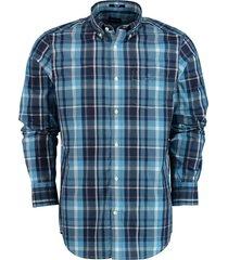 gant overhemd met ruit blauw katoen 3016120/445