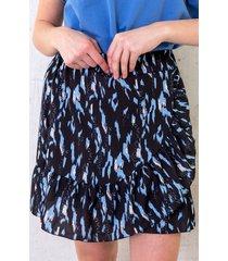 panterprint rok met overslag blauw