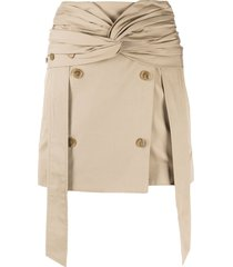 rokh twisted-waistband gabardine skirt - neutrals