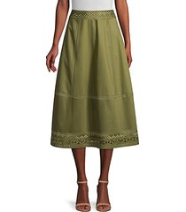 daisy embroidered poplin midi skirt