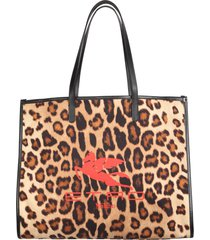 etro leopard print canvas tote bag