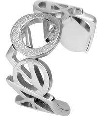 anello in acciaio rodiato diamantato per donna