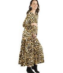 vestido maternal y lactancia juana mostaza madremía