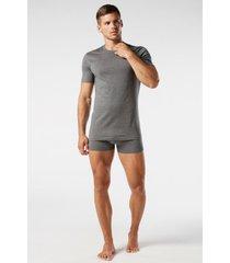 camiseta de manga curta gola de algodao supima® intimissimi algodão supima cinza