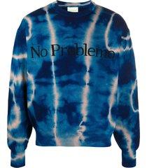 aries tie-dye crew neck jumper - blue
