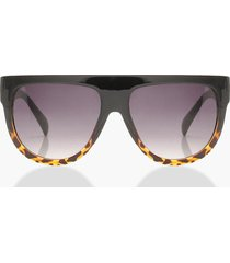 leopard oversized flat top sunglasses, black