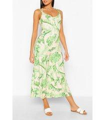 palmprint culotte jumpsuit met wijde pijpen en gekruiste rug, blush