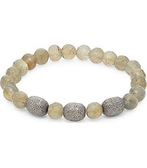 labradorite & textured sterling silver beaded bracelet
