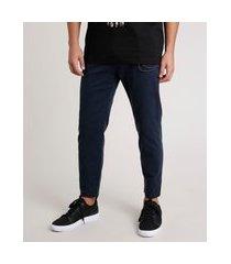 calça de sarja masculina tapered com cordão azul marinho