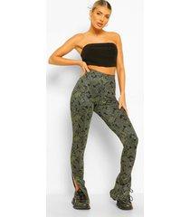 metallic paisley broek met split, green