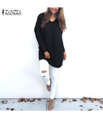 zanzea mujeres plus size túnica top blusa pullover jumper club party sweater dress -negro