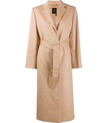 agnona tie-waist trench coat - neutrals