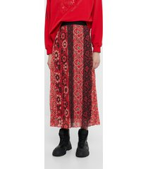 flared skirt pleated printed - red - xl