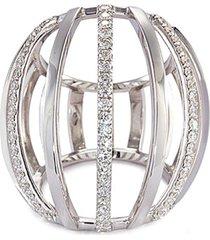 diamond 18k white gold cage ring