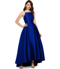 betsy & adam petite long satin gown