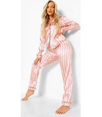 roze gestreepte pyjama set, pink