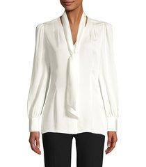 elie tahari women's percy tie silk blouse - fresh pearl - size l