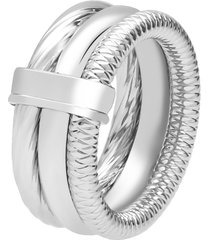 anello a fascia tre giri in acciaio rodiato per donna
