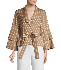 lipa striped bell sleeve tie-waist blouse